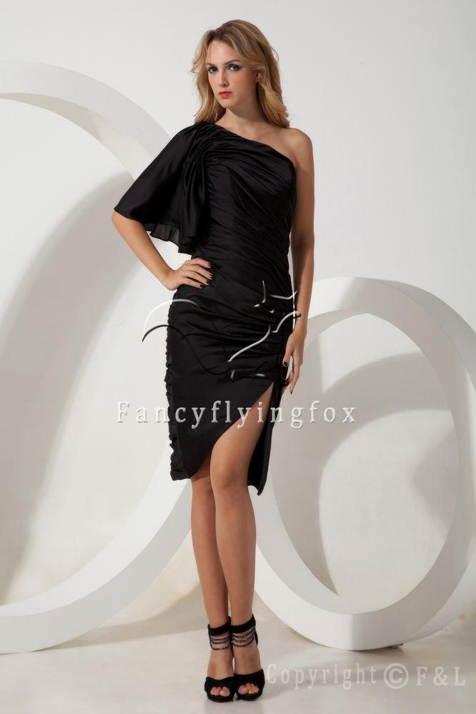 black satin one shoulder short sleeves a-line knee length mother of the bride dress IMG-1871
