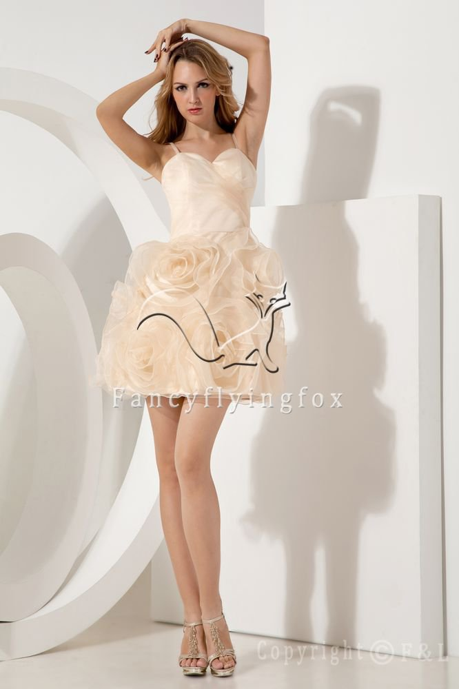 light champagne tulle spaghetti straps ball gown mini length cocktail dress IMG-1934
