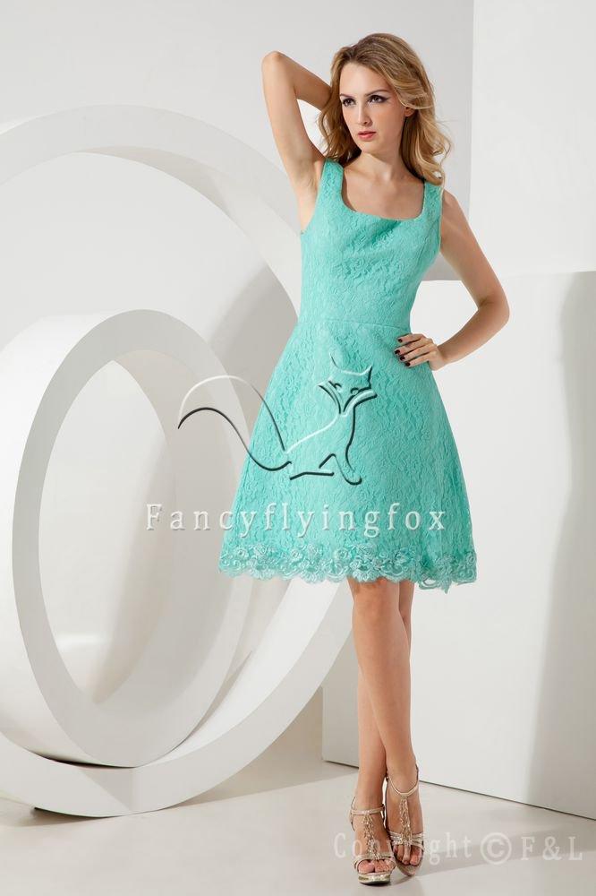 elegant green lace scoop neckline a-line knee length party dress IMG-1972