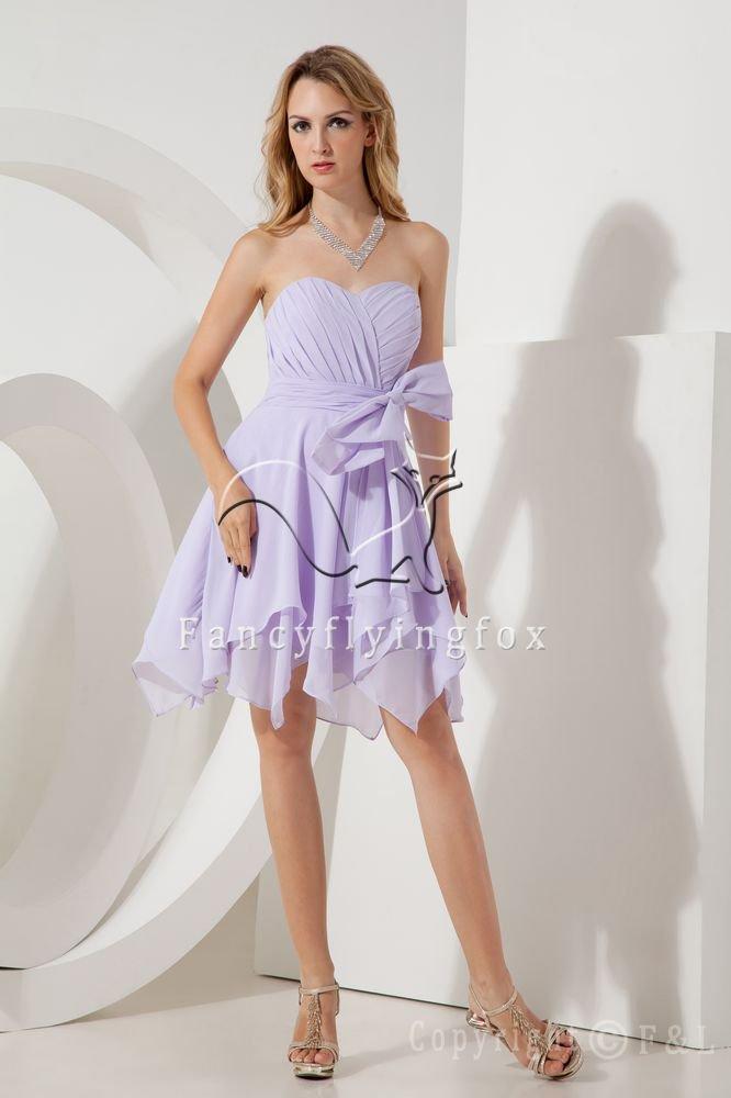 charming lavender chiffon sweetheart a-line knee length prom dress IMG-2012