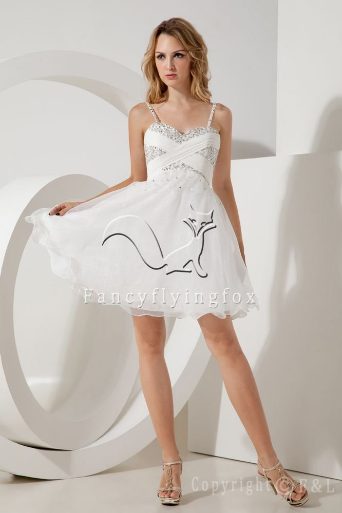 cute white organza spaghetti straps a-line mini length cocktail dress IMG-2102
