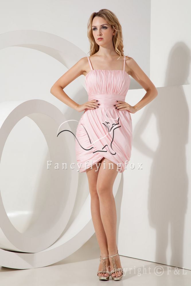sheath mini length pink satin spaghetti straps cocktail dress IMG-2139
