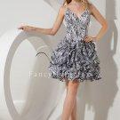zebra spaghetti straps v-neckline ball gown mini length cocktail dress IMG-2174