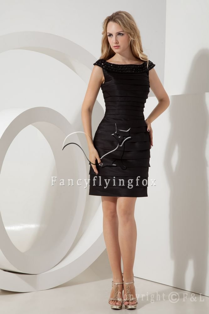 off the shoulder black satin a-line mini length mother of the bride dress IMG-2185