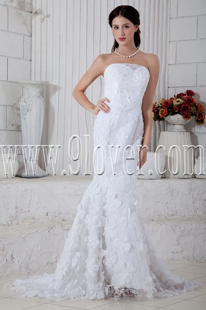 vintage and retro strapless trumpet mermaid wedding dress with appliqued IMG-6810