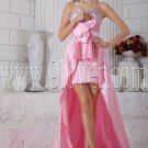 mini length pink satin sweetheart cocktail dress with chapel train IMG-6826