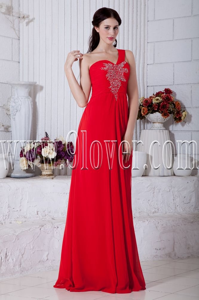 a-line floor length one shoulder red chiffon formal evening dress IMG-6857