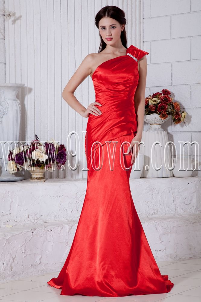 elegant red satin one shoulder a-line floor length formal evening dress IMG-6887