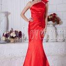 elegant red satin one shoulder a-line floor length formal evening dress IMG-6887