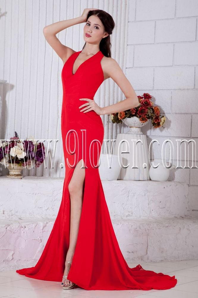 informal halter red chiffon a-line floor length evening dress IMG-6910