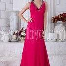 deep v-neckline fuchsia chiffon a-line floor length bridesmaid dress IMG-6918