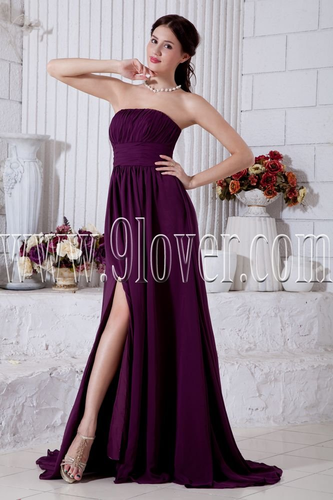 purple chiffon strapless neckline a-line floor length informal evening dress IMG-7005
