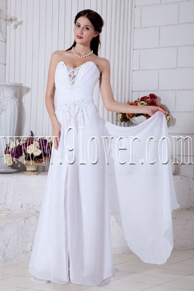 white chiffon sweetheart column floor length informal wedding dress IMG-7018
