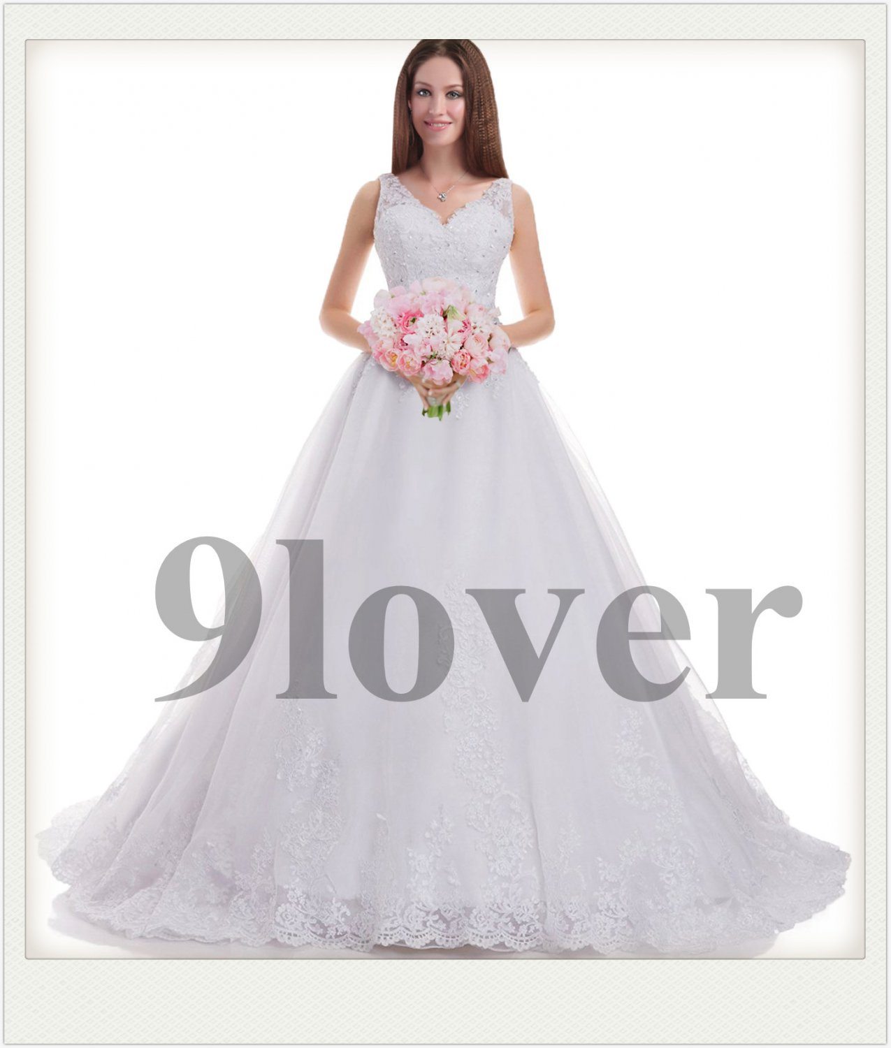 Beautiful Lace V-neckline Bridal Gown