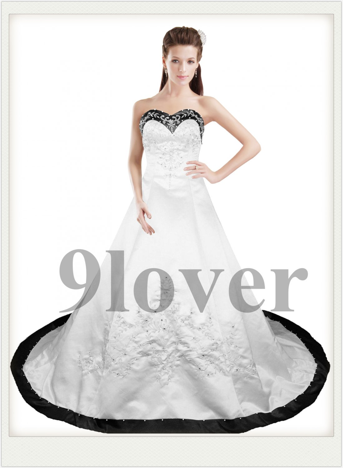Classcial Black and White Embroidery Wedding Dress