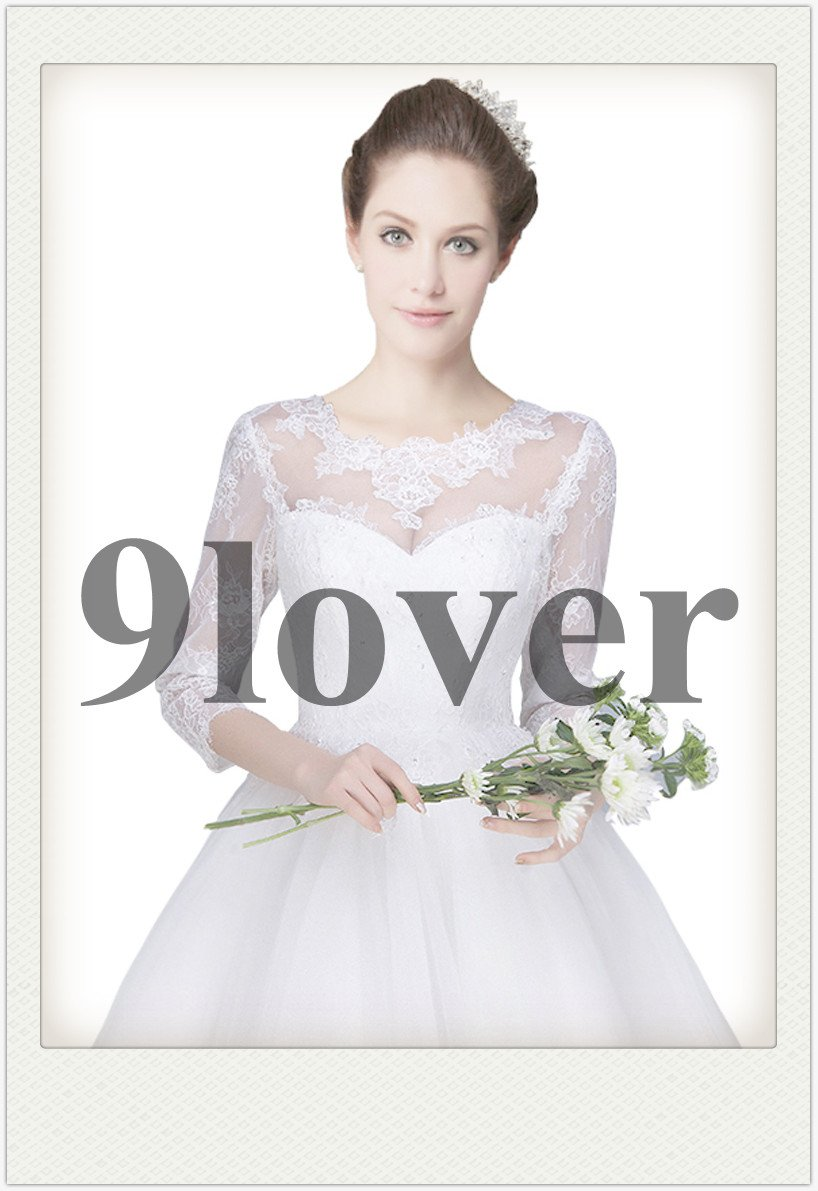 Classical 3/4 Sleeves Short Summer Bridal Gown
