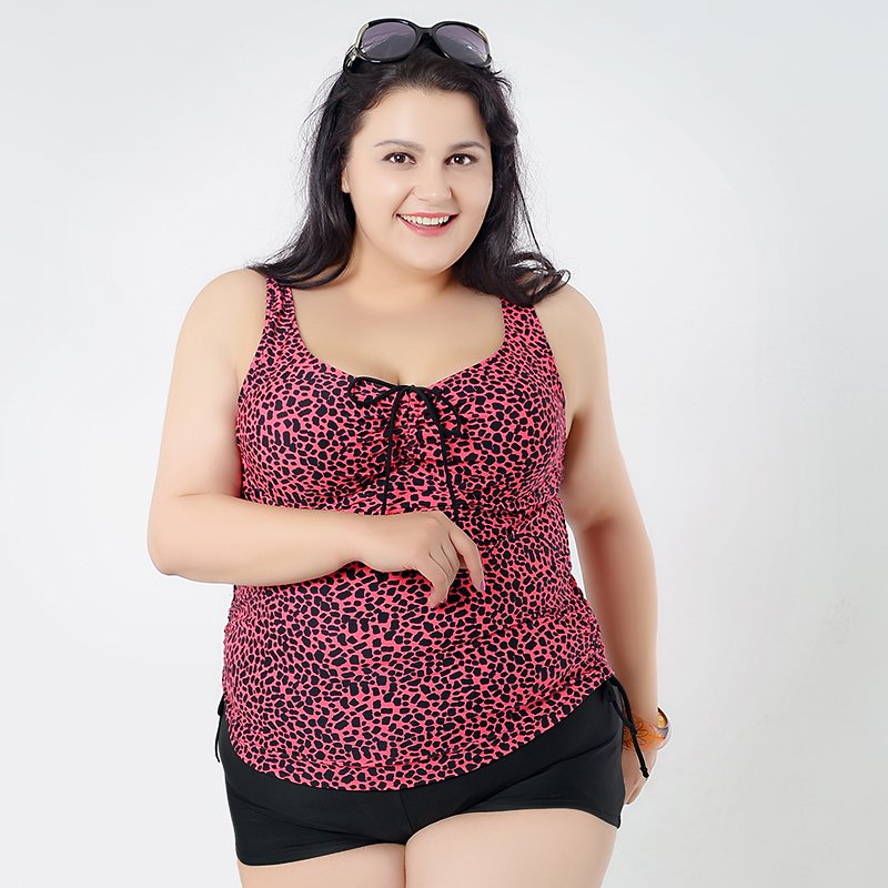 Rose Red Low Back Women's Plus Size Bathing Suits