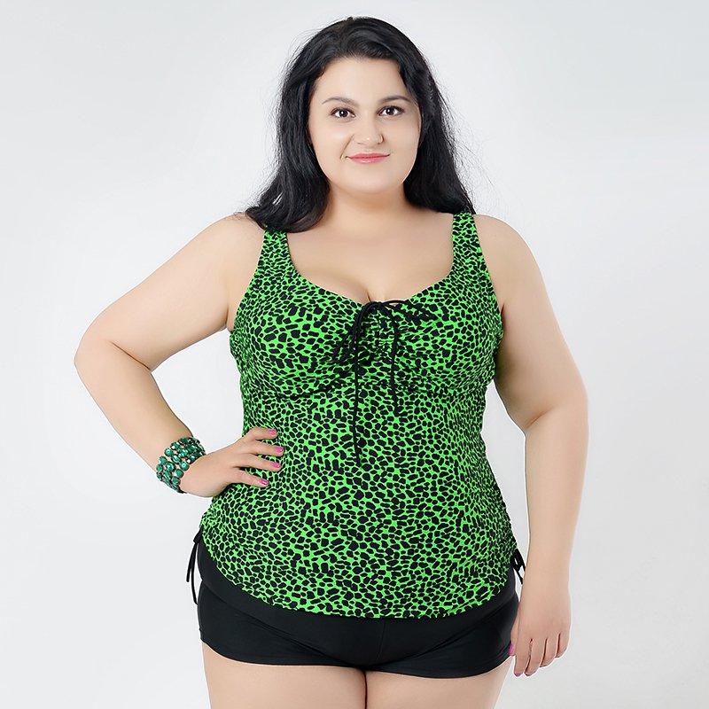 Green 2 Pieces Plus Size Swimwear for Women