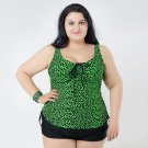 Green 2 Pieces Plus Size Swimwear for Women