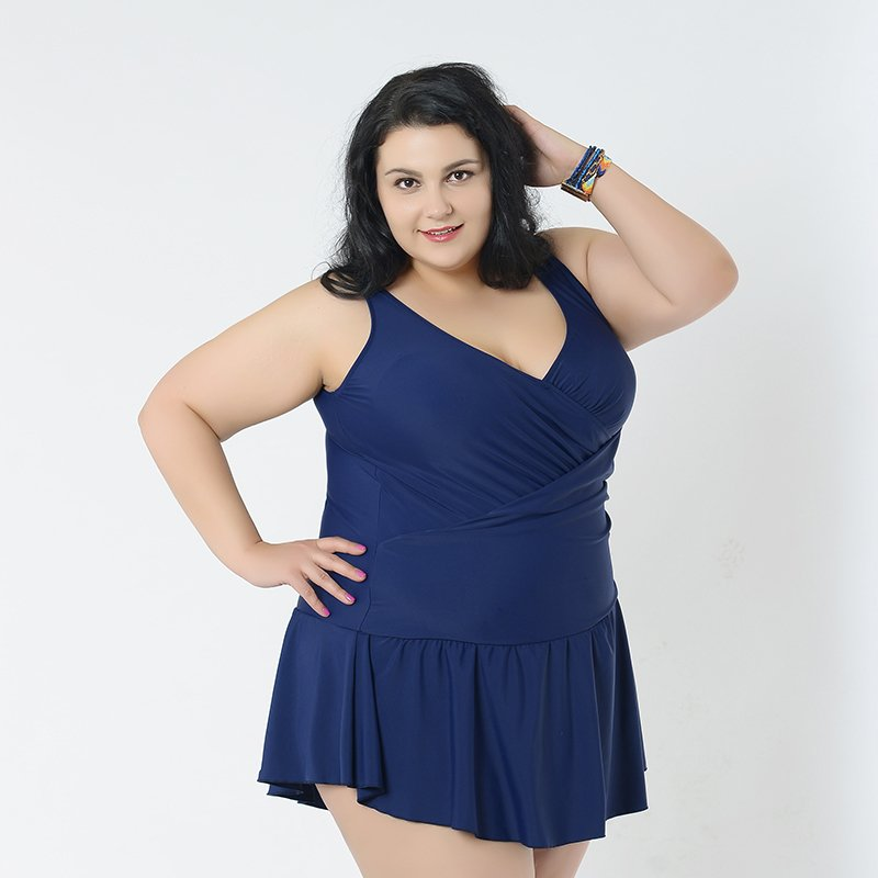 Navy Blue Plus Size One Pieces Swimsuits for Big Bust