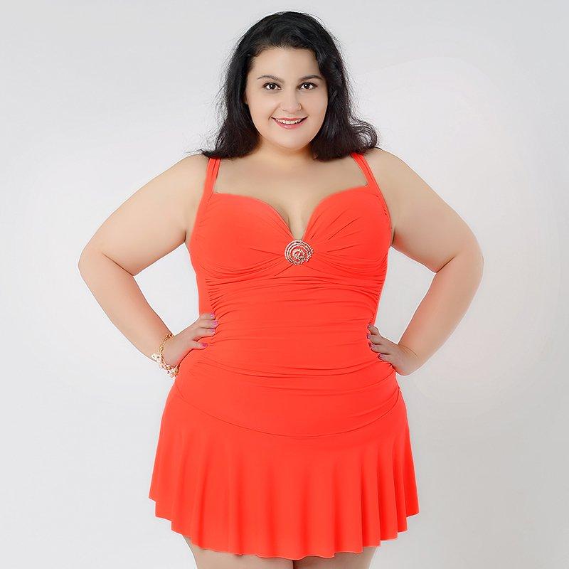 Beautiful Orange One Piece Bathing Suit for Large Size