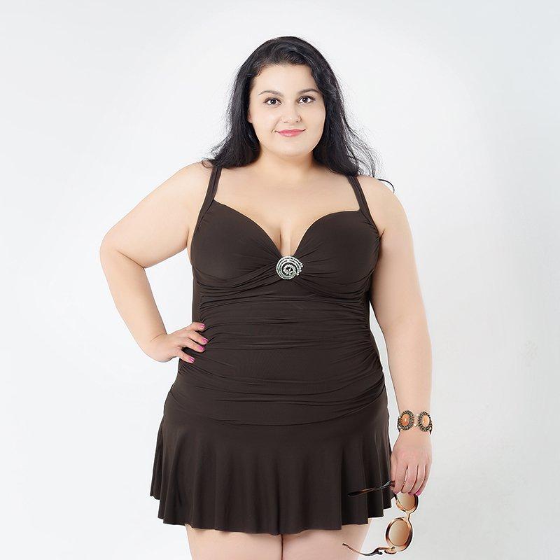 Vintage Dark Brown One Piece Swimsuit for Big Girl