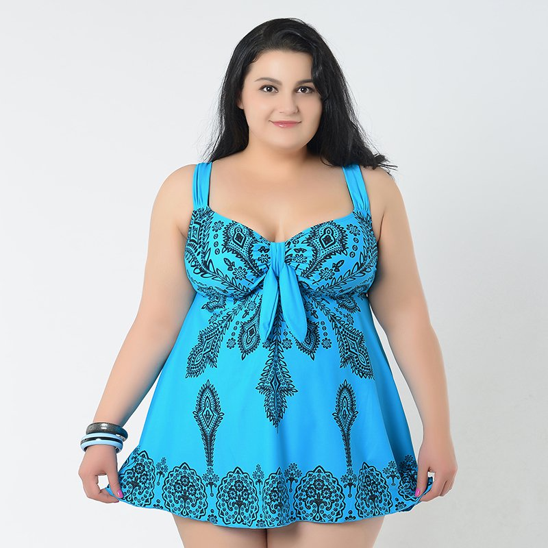 Beautiful Blue Print Skirted Swimsuit with Tummy Control