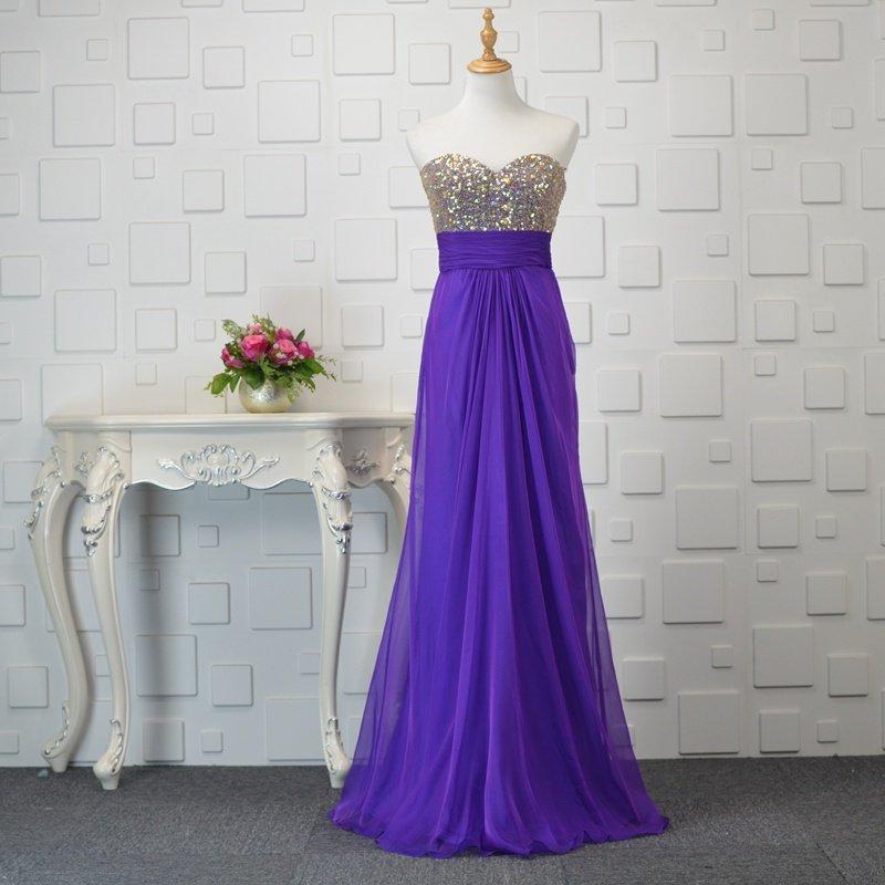Pretty Sexy Criss Cross Back Purple Long Prom Dress