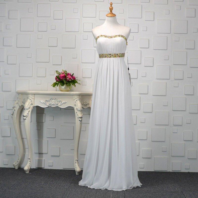 Romantic White Open Back Long Evening Dress