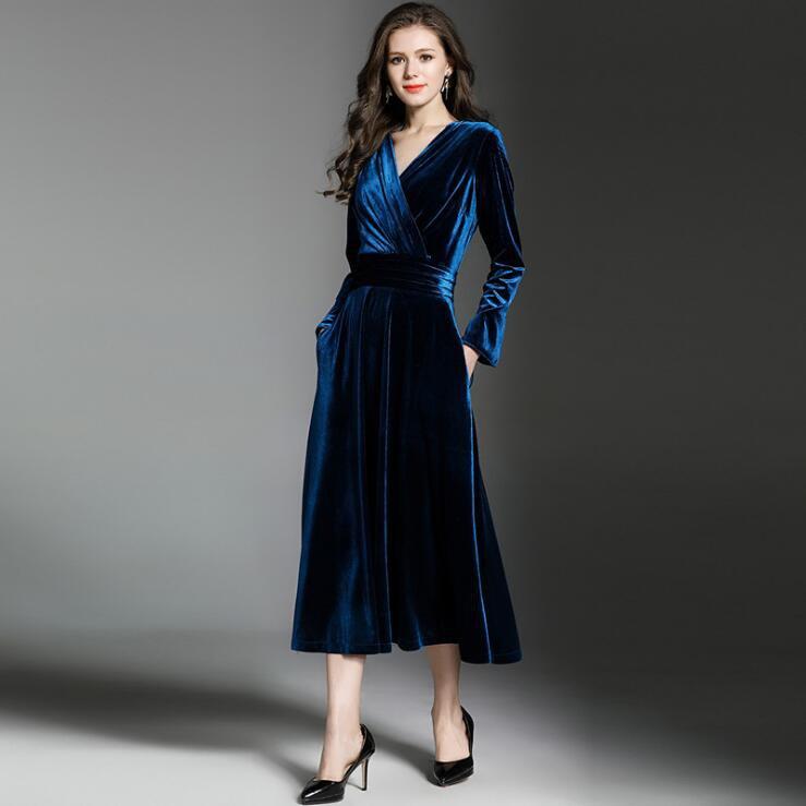 Simple Long Sleeve V neck Tea Length Velvet Dress