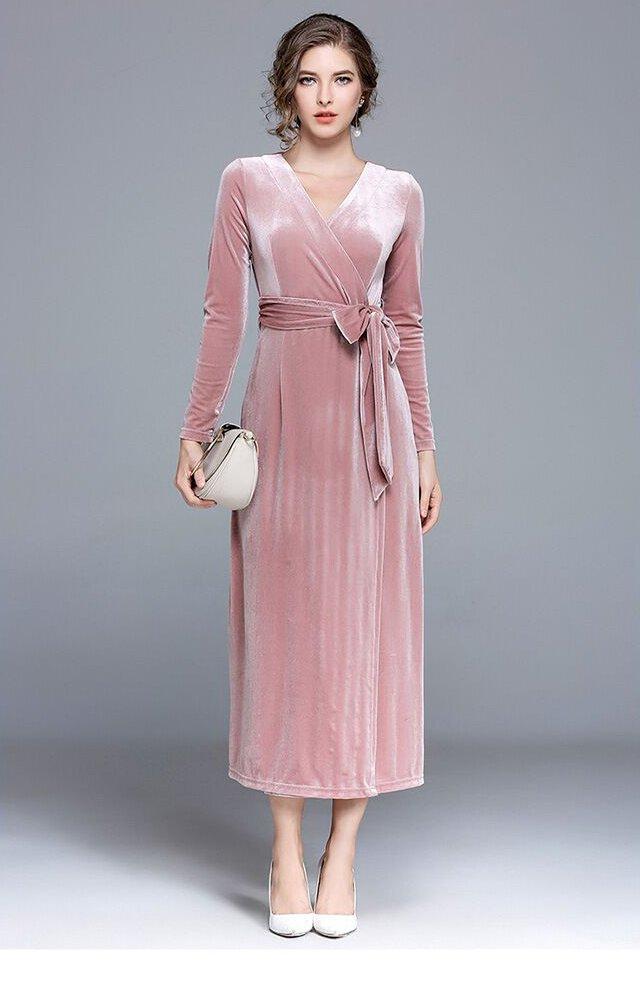 Sexy Pink Sheath Tea Length Prom Dress with Slit