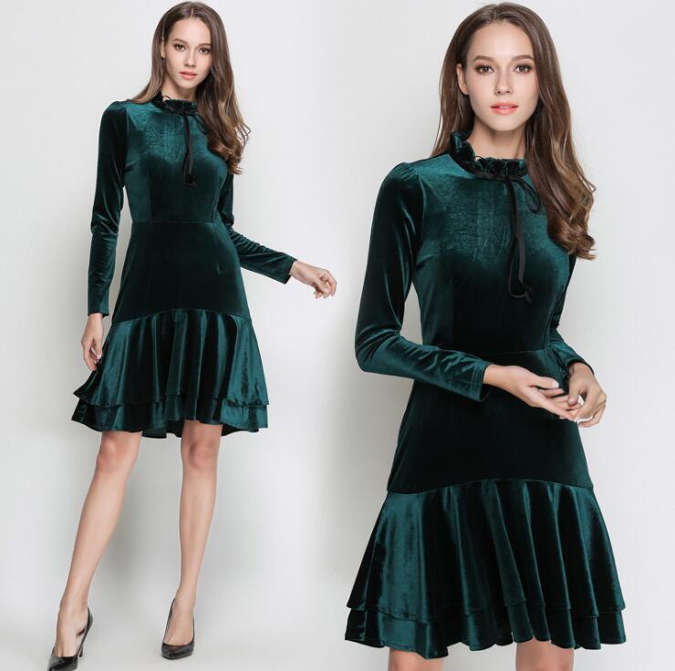 Sweet Hunter Green Long Sleeves Ruffle Short Dress