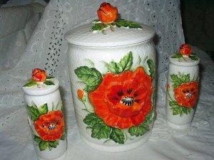*Reduced* Great Lefton Cookie Jar/Cannister and Salt and Pepper Vintage Set-Poppy Flowers