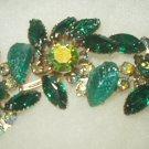 Judy Lee-Large Vintage Emerald Rhinestone Brooch Aurora Borealis-Green Shades Bold