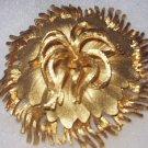 Sauteur Renoir Large Vintage Gold Art Deco Style Floral Pin Brooch