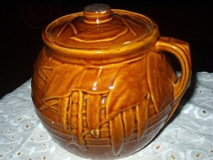Vintage McCoy Brown Leaf Pattern Cookie Jar/Cannister