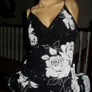 Slinky Black Dress with White Flowers Glittery-Size M-Super Sexy