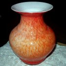 *Reduced*Stunning Tangerine Hues Large Bulbous Art Glass Vase