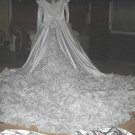 *Reduced*Gorgeous Size10-Beads,Sequins,Embroiderd Lace Wedding Dress-Long Ruffled Train TO DIE FOR!