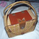 1950s-1960s Straw Woven Box Purse with Plastic Handles,Leather Accents