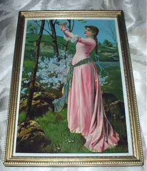 Victorian Lady in Pink Gown Gathering Flowers Antique Chromolithograph-Wood Frame