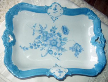 Bavaria Seltmann Porcelain China Serving Dish Handpainted Blue,Flowers Excellent,Artist Signed