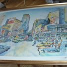 New York Broadway City Large Silkscreen Vintage Lithograph Pencil Signed Artist Limited Edition
