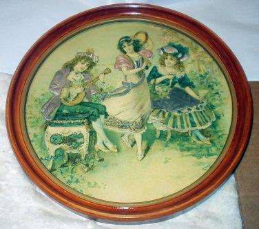 Die Cut Antique Children Victorian Edwardian Dancing Playing Music Round Framed Picture