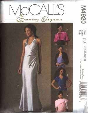 McCall's M4920 Evening Elegance Lined Dress, Cape, Shrug, Wrap Size AAX: Misses' 4, 6, 8, 10