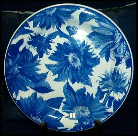 MINT QUADRIFOGLIO CERAMIC PLATE ITALIAN BLUE FLORAL
