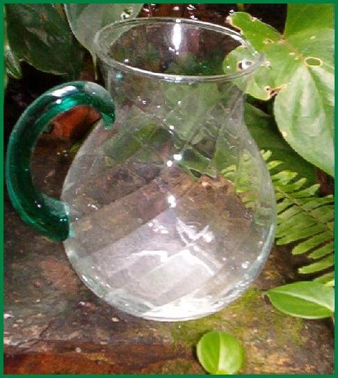 GREEN HANDLE SWIRL GLASS PITCHER