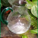 GREEN HANDLE SWIRL GLASS PITCHER