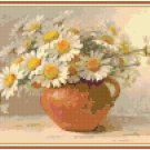 Daisies in a Terra Cotta Pot Pattern Chart Graph