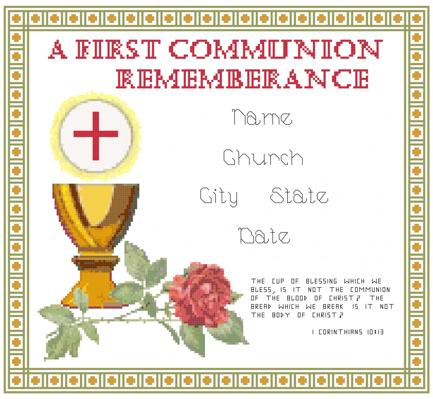 First Communion Record Pattern Chart Graph